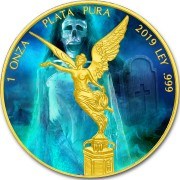 Mexico LA LLORONA - LEGENDS and LORE LIBERTAD 1 Onza Silver coin 2019 Gold plated 1 oz